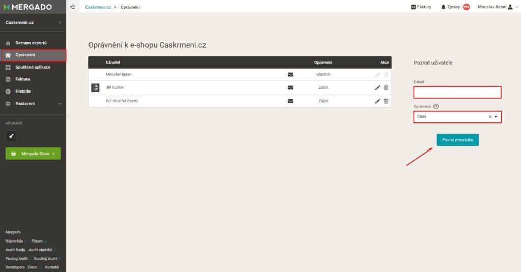 Mergado - udělení přístupu agentuře, agenturnímu správci či freelancerovi